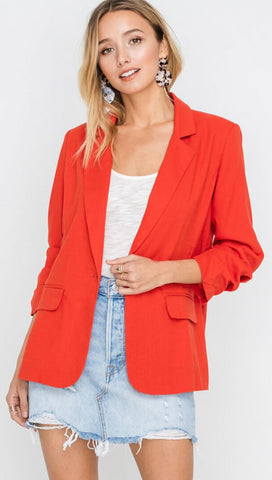 Resort Boss Ruched Sleeve Linen Lightweight Casual Blazer Red I ShopAA