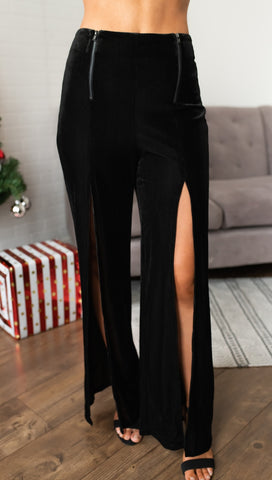 Zip Me Up Slit Zipper Palazzo Pants Black Velvet Wide Leg I ShopAA