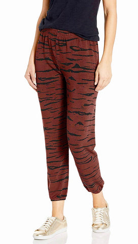 Monrow Supersoft Tiger Elastic Sweats Faded Maroon Pants Red | ShopAA