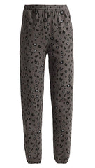 MONROW Heart Leopard Print Elastic Waist Sweats Vintage Black Pants Sweatpants ShopAA