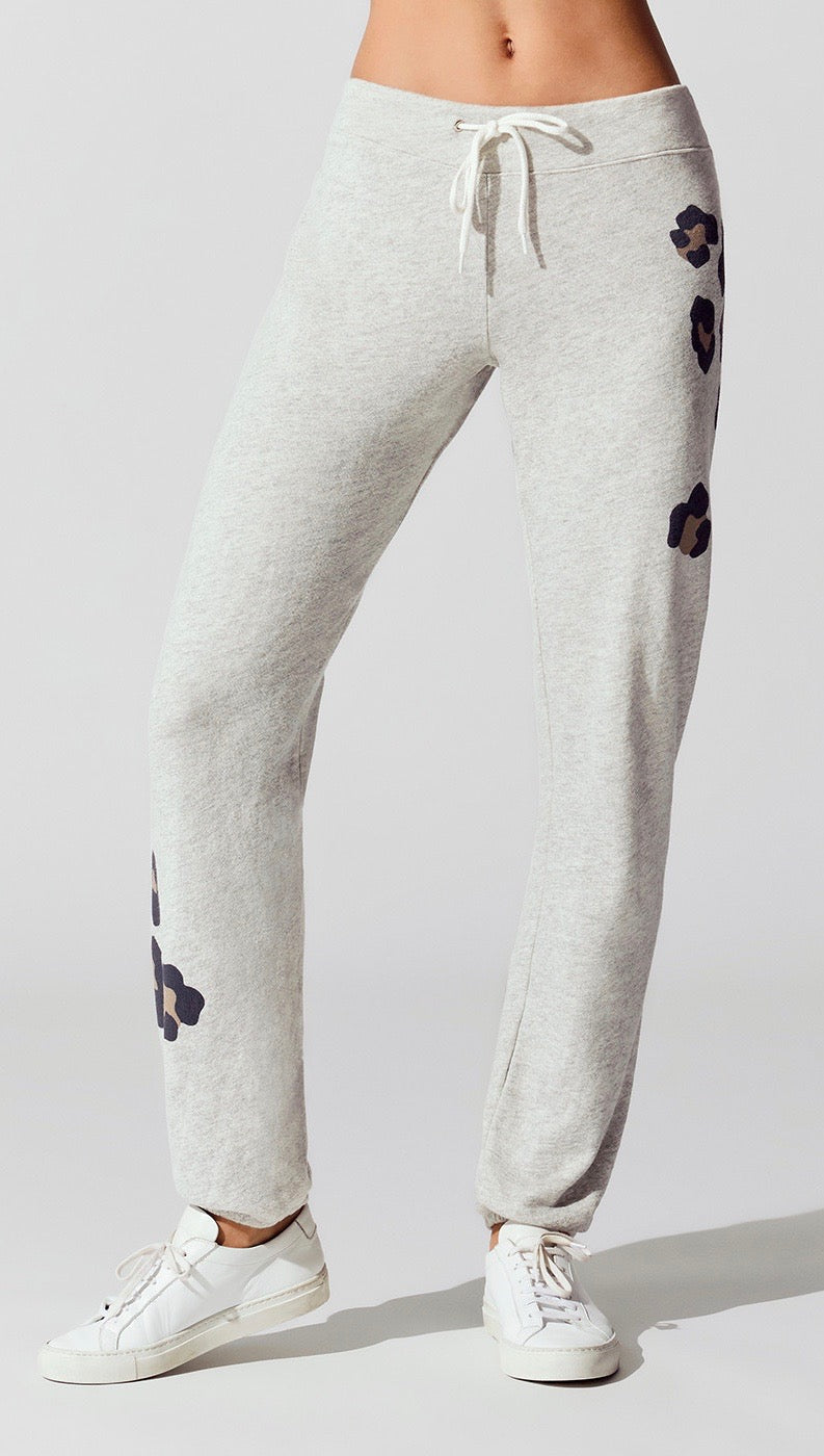 MONROW Oversized Leopard Print Vintage Sweats Pants Heather Grey