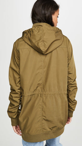 MONROW Parka Jacket Army Green Long Sleeve Removable Hood | ShopAA