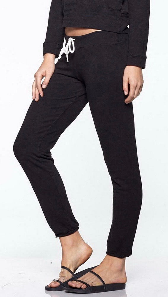 MONROW Supersoft Vintage Sweats Black Lounge Active Pants | ShopAA