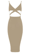 Naomi Sleeveless V Neck Mini Dress Beige Nude Sexy Club Cut Out Sheath
