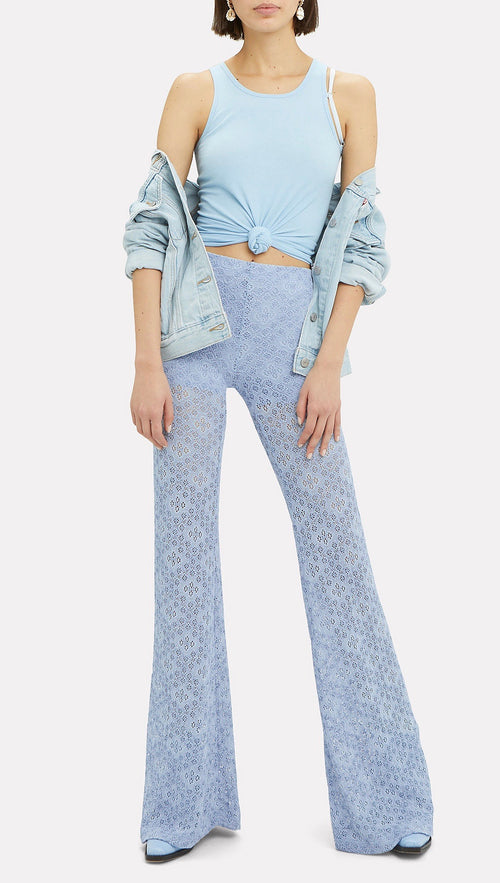 Nightcap Diamond Lace Sheer Bell Bottom Festival Pants Powder Blue