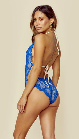 Nightcap Lima One Piece V Plunge Swimwear Cobalt Blue Lace Open Back Halter Bodysuit Swim Monokini ShopAA