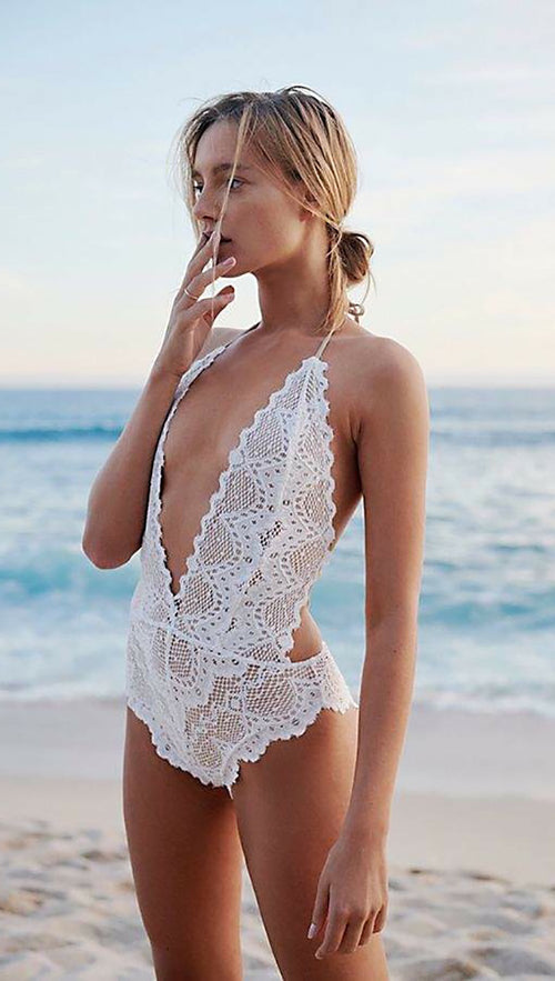 Nightcap Clothing Lima One Piece V Plunge Swim White Lace Open Back Halter Bodysuit| ShopAA