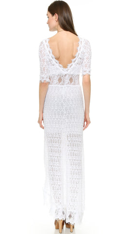 Nightcap x Carisa Rene Florence V Back Lace Gown White Dress ShopAA