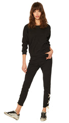n:Philanthropy Emery Lace Up Ankle Skinny Crop Sweatpants Black