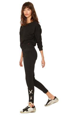 n:Philanthropy Emery Lace Up Ankle Skinny Sweats Black