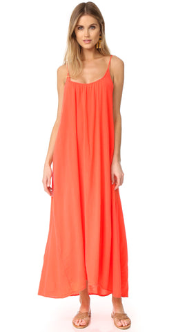 9Seed Tulum Dress in Dahlia Maxi Swim Cover Up Orange Red