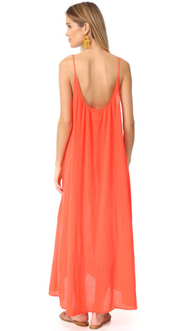 9 Seed Tulum Dress in Coral Maxi Swim Cover Up Orange