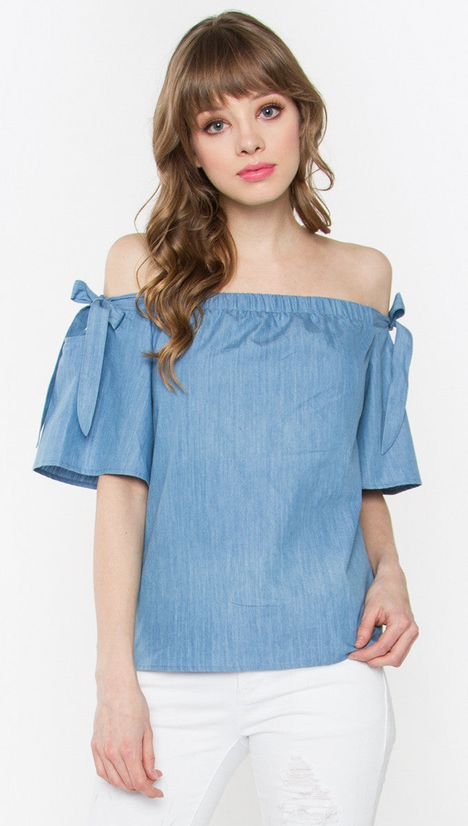 Sugar Lips Tranquil Off Shoulder Top in Denim Blue