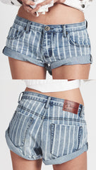 Rocky Blue White Stripe Bandit Shorts One Teaspoon Cult Denim