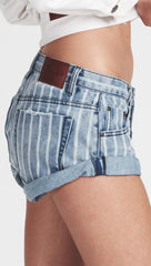 One Teaspoon Bandits Denim Shorts Rocky Blue Stripe Low Waist l ShopAA