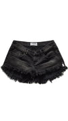 One Teaspoon Bonitas Denim Shorts Double Bass Black Low Waist Frayed