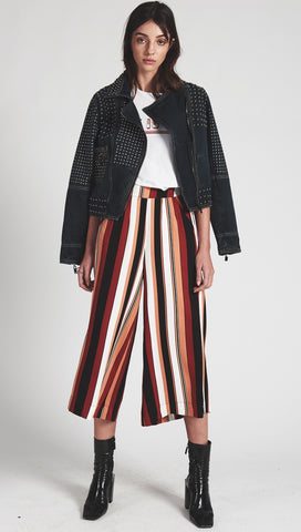 One Teaspoon Hustler Wide Leg Culottes Pants Bronze Stripe l ShopAA