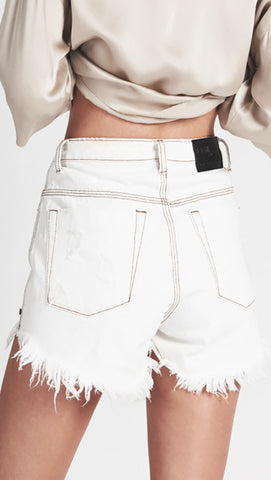 One Teaspoon High Waist Bonita Denim Shorts Coconut White l ShopAA