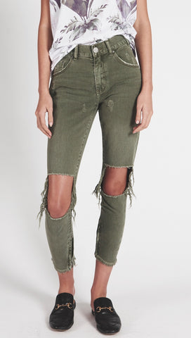One Teaspoon High Waist Freebird Skinny Jeans Super Khaki Army Green Olive Busted Knee Distressed Denim
