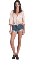 One Teaspoon Low Waist Bonita Denim Shorts Blue Society