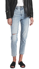 One Teaspoon High Waist Legend Denim Rocky Stripe Mom Skinny Pinstripe Jeans l ShopAA