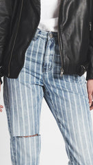 One Teaspoon High Waist Legend Denim Rocky Stripe Mom Jeans l ShopAA