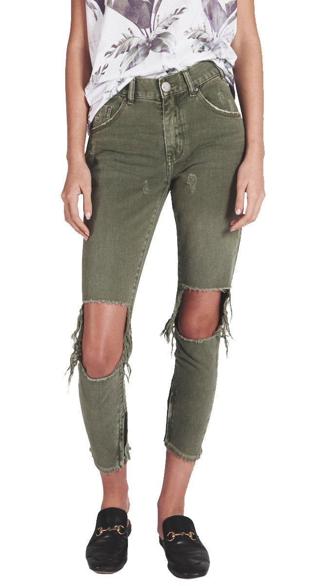 Super Distressed High Waisted Skinny Jeans in Olive Green