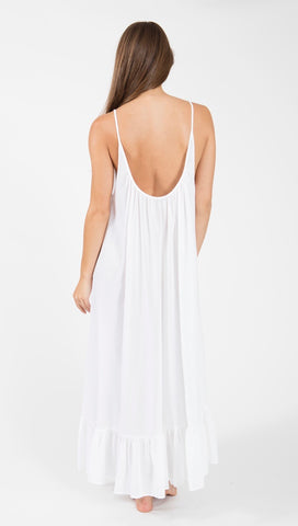 9Seed Paloma Cover Up Ruffle Maxi Dress White | ShopAA