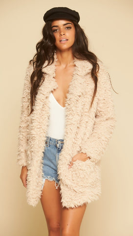Sage The Label Penny Lane Jacket Light Taupe Faux Fur Shag I ShopAA