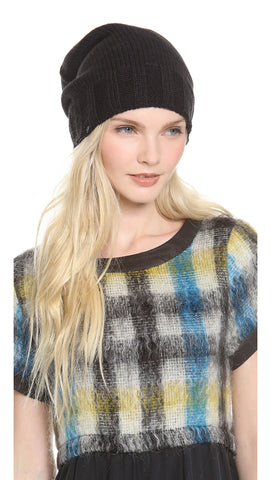 Plush Extra Slouchy Knit Beanie Hat Black Fleece Lined | ShopAA