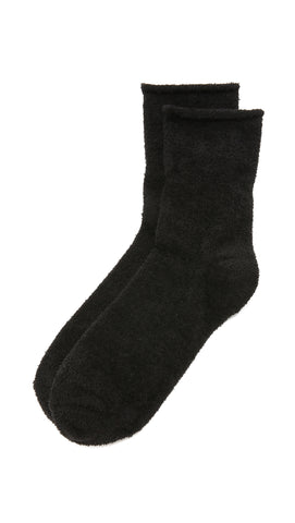 Plush Solid Rolled Fleece Ankle Socks Black