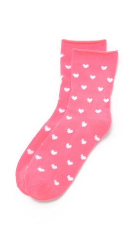Plush Fleece Rolled Ankle Socks White Heart Print Pink | ShopAA
