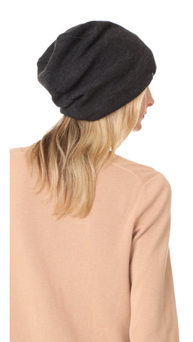 Plush Barca Ribbed Knit Beanie Charcoal Grey Fleece Lined Hat | ShopAA