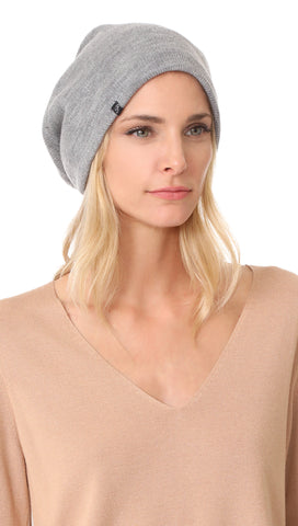 Plush Barca Ribbed Knit Beanie Heather Grey Fleece Lined Hat | ShopAA