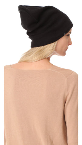 Plush Ribbed Knit Beanie Black Fleece Lined Hat | ShopAA