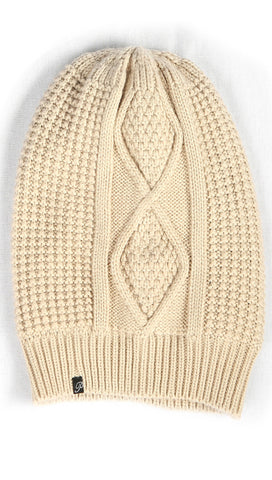 Plush Diamond Knit Beanie Hat Mink Beige Fleece Lined | ShopAA