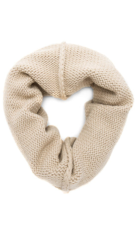 Plush Chunky Knit Neckwarmer Mink Infinity Scarf Beige Fleece | ShopAA