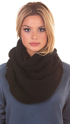 Plush Chunky Knit Neckwarmer Black Infinity Scarf Fleece Lined | ShopAA