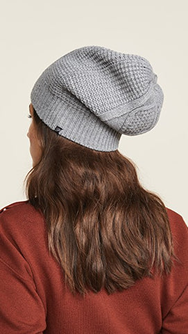 Plush Diamond Knit Beanie Hat Heather Grey Fleece Lined | ShopAA