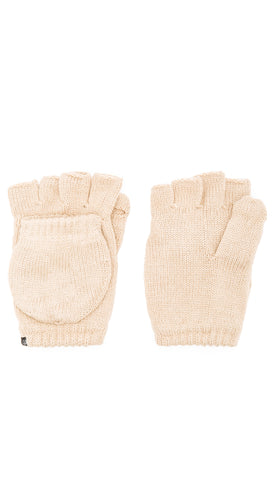 Plush Fleece Lined Fingerless Texting Mittens Winter Gloves Tan | ShopAA