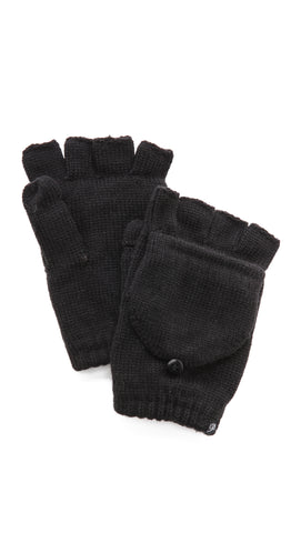 Plush Fleece Lined Fingerless Texting Mittens Black Knit | ShopAA