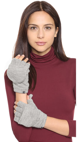 Plush Fleece Lined Fingerless Texting Mittens Heather Grey | ShopAA