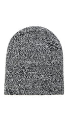 Plush Marled Knit Slouchy Beanie Hat Black White Fleece Lined | ShopAA