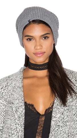 Plush Ribbed Knit Beanie Heather Grey Fleece Lined Hat | ShopAA