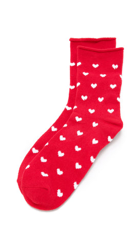 Plush Fleece Rolled Ankle Socks White Heart Print Red | ShopAA