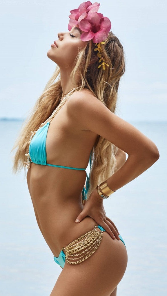 Beach Bunny Swimwear Ball and Chain Skimpy Bottom Aqua Turquoise Gold Chain