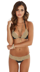 Beach Bunny Swimwear Lady Lace Bikini Full Set Black Gold Taupe