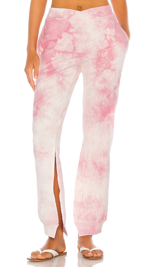 Ranger Heavenly Pink Tie Dye Slit Sweatpants V cut waist top Frankies Bikinis I ShopAA
