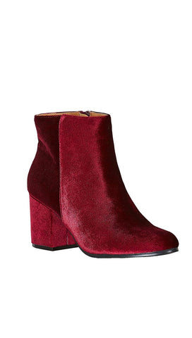 Velour Ankle Booties Red Wine Velvet Block Heel Shoes