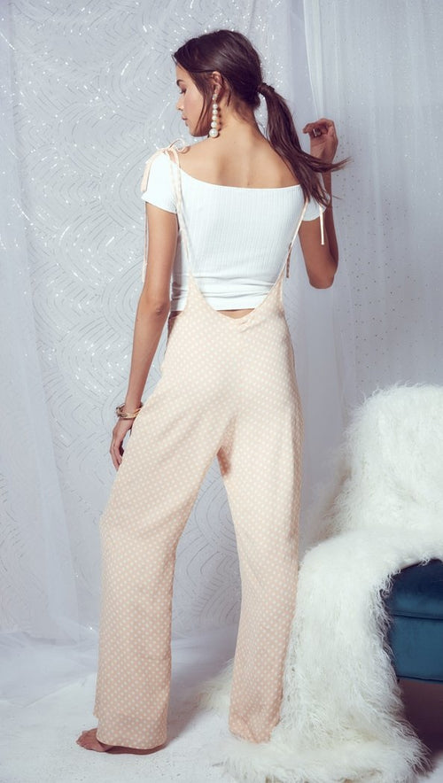 Sage The Label Diamonds & Pearls Overall Pants Jumper Blush Dot Wide